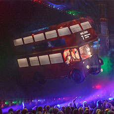 Flying London Bus - flying stage prop